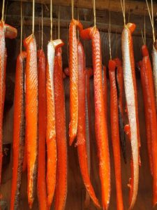 Several long strips of salmon meat hung by strings